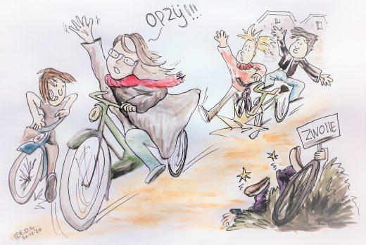 Grappige illustratie van Hester die asociaal fietst